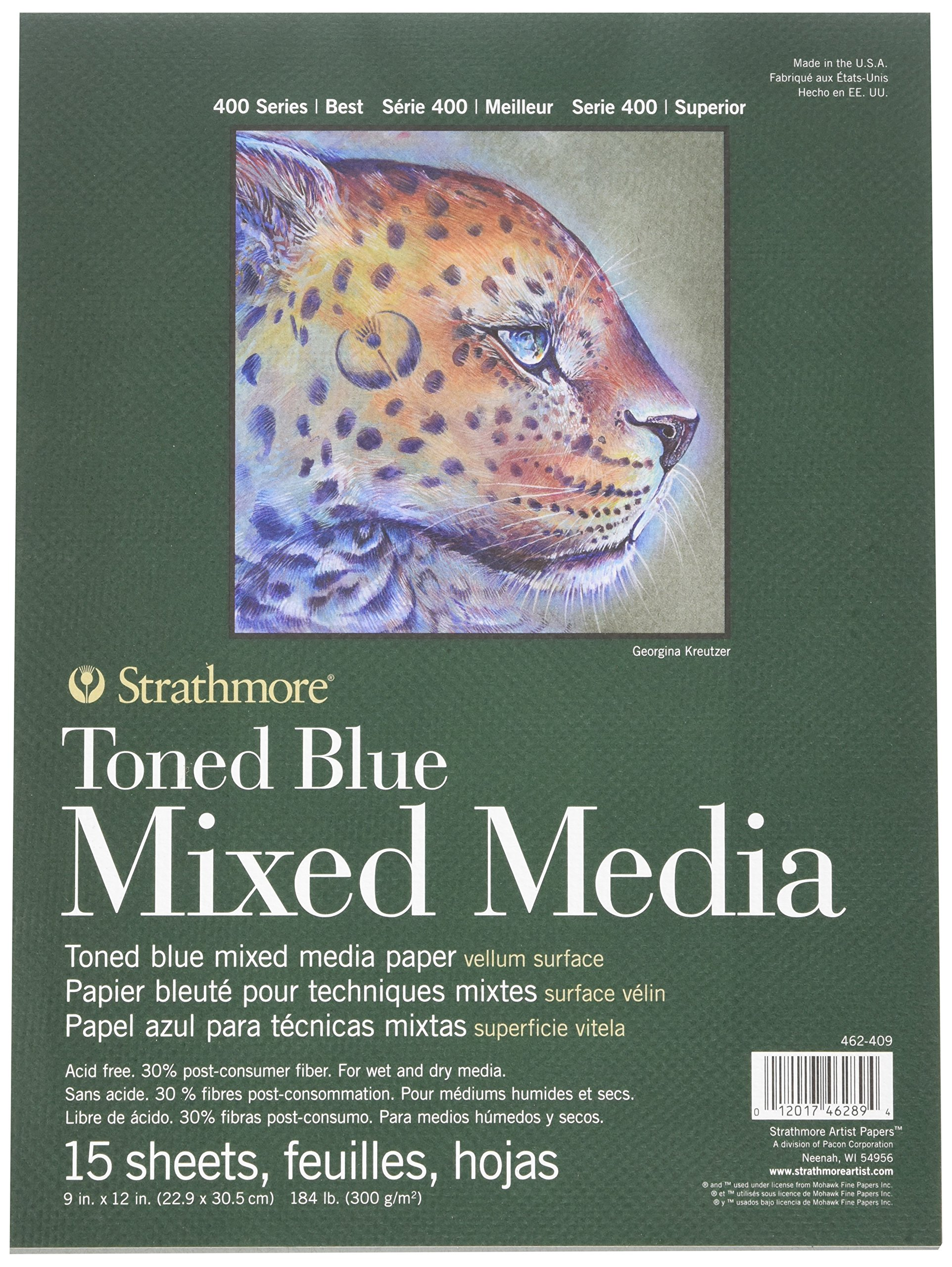 400 Series Toned Blue Mixed Media Pad, 9''x12'' Glue Bound, 15 Sheets per Pad by Strathmore