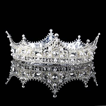 FUMUD Baroque Vintage Black Rhinestone Beads Round Big Crown Wedding Hair  Accessories Luxury Crystal Queen King 80b231cde3ae