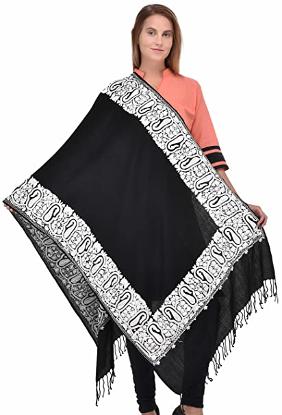 d9d012816d Black Shawl/Stole Aari Embroidery Manufactured in Kashmir  -pink-Green-White-Yellow-Purple-Red-and may more Color Threads.: Amazon.in:  Clothing & Accessories