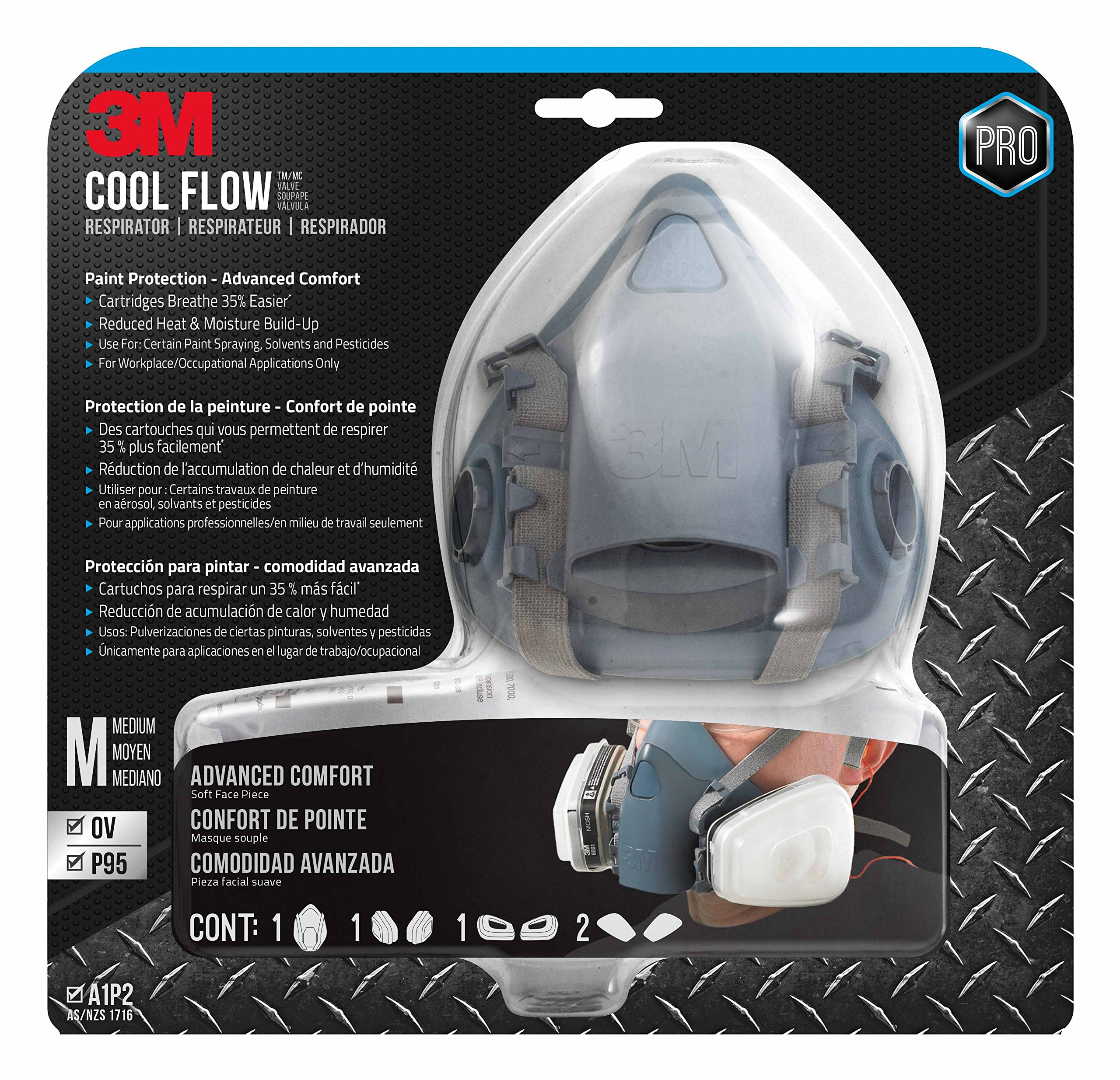 3M 7512PA1-A-PS Professional Paint Respirator, Medium by 3M SAFETY