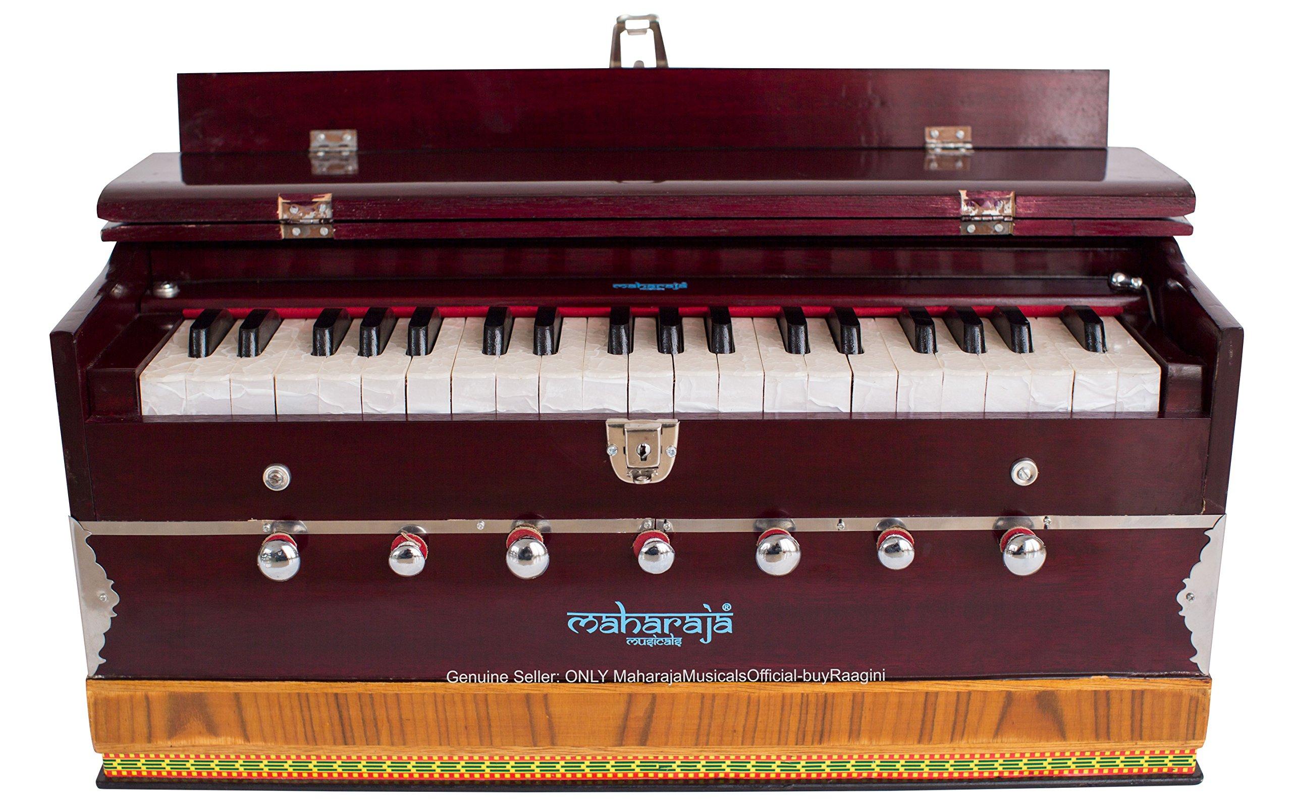 Harmonium #1, Maharaja Musicals, Handmade Harmonium, 3 1/4 Octave (Saptak), 7 Stop, Standing, Coupler, Multi Bellow, Book & Padded Bag, Tuned A440, Dark Mahogany Color, PDI-DB by Maharaja Musicals