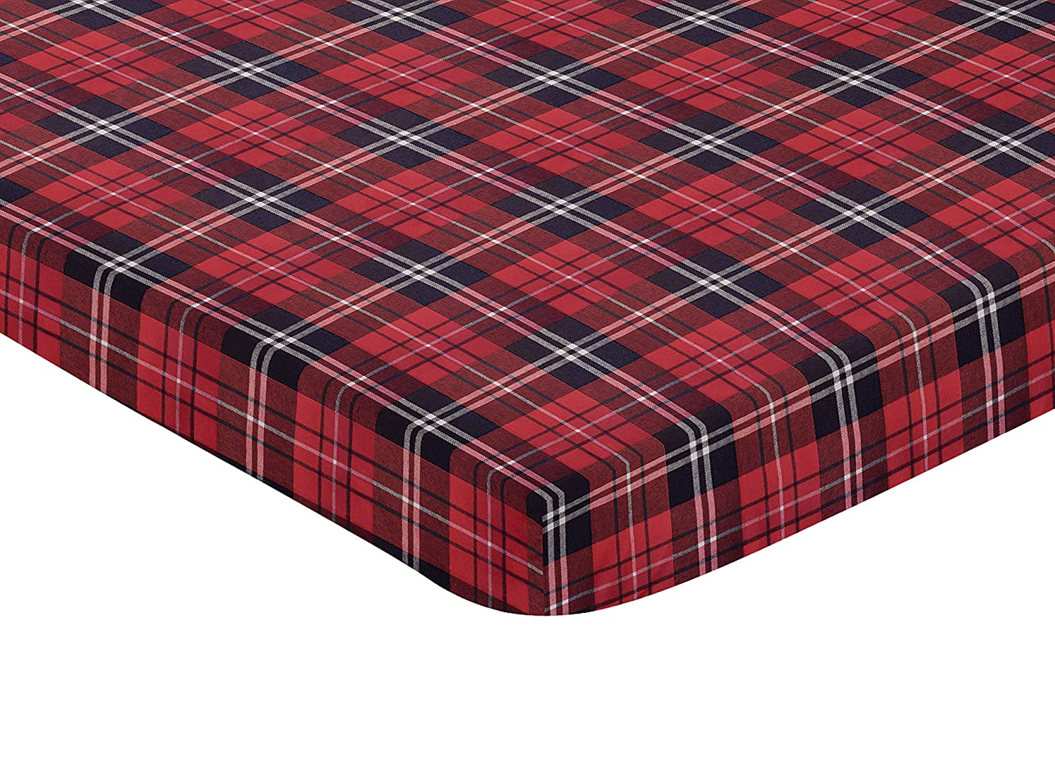 Amazon Com Sweet Jojo Designs Red And Black Woodland Plaid Flannel Baby Boy Fitted Mini Portable Crib Sheet For Rustic Patch Collection For Mini Crib Or Pack And Play Only Baby
