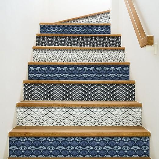 Playa Adhesivos para contremarches de escaleras, Vinilo, Azul, 100 x 0,1 x 19 cm: Amazon.es: Hogar