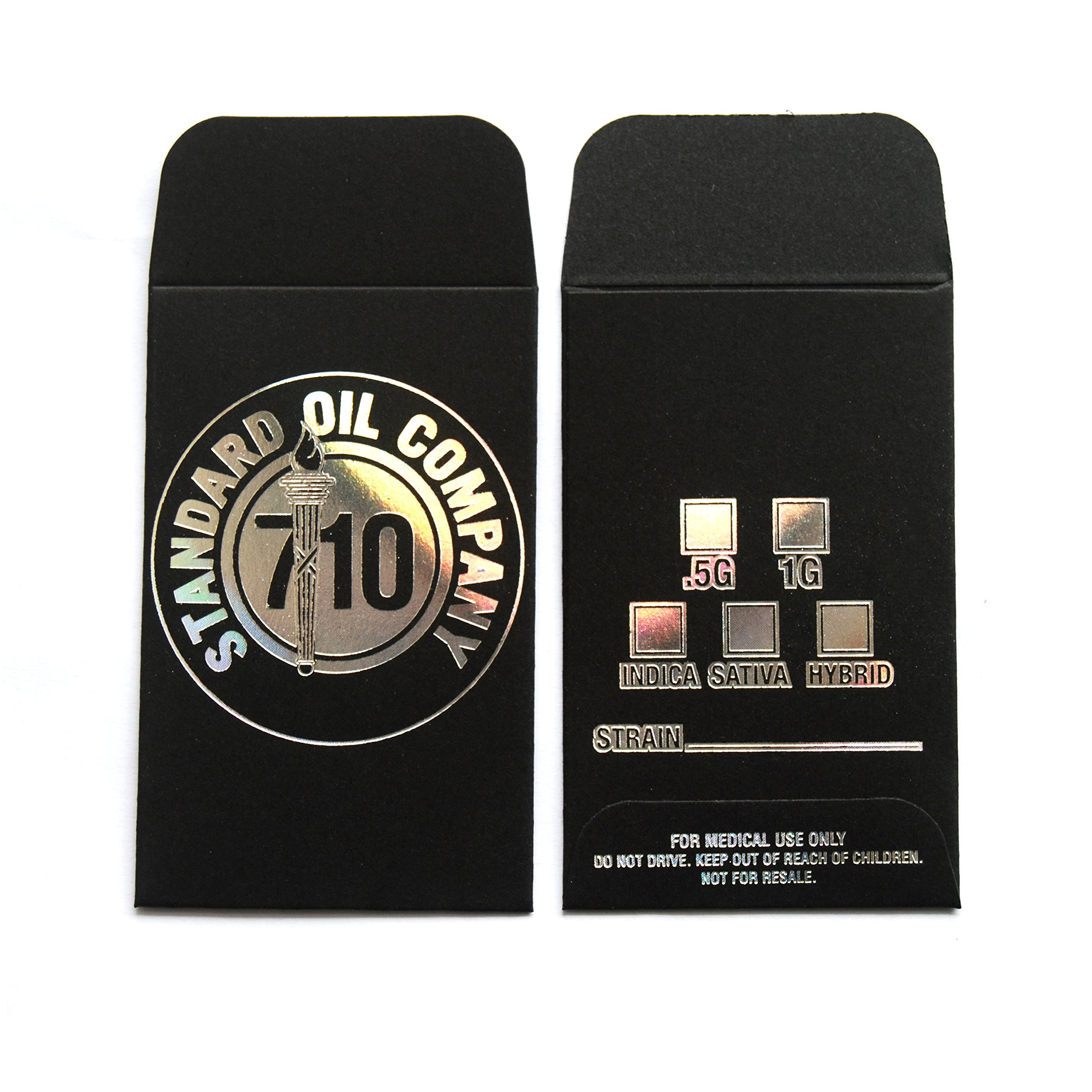 100 Black Holographic Silver 710 Standard Company Oil Wax Extract Coin Foil Envelopes 2.25'' X 3.5'' #006 by Shatter Labels (Image #2)