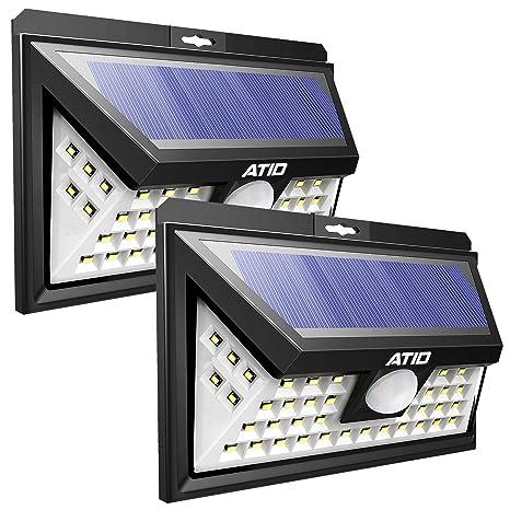 Focos Solares Exterior de ATID - Foco 46 LED Exterior - Luz Solar Jardin Con Sensor