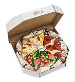 Pizza Socks Box Italiana Hawaiana Pepperoni, Novità Particolarmente originali, unici calzini, prodotti in UE, perfetti come regalo! Taglia 36 - 46 Sorprendi gli amici Cotone, non fullprint