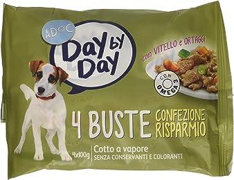 Adoc Day By Day Vitello e Ortaggi per cani adulti, 10 confezioni multipack da 4 pezzi