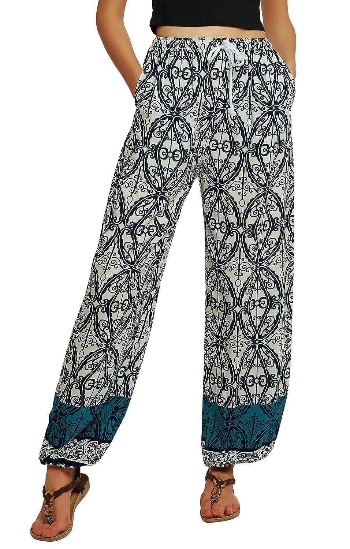 Urban CoCo Women's Casual Boho Floral Print Yoga Pants Harem Pants Bingo E-commerce