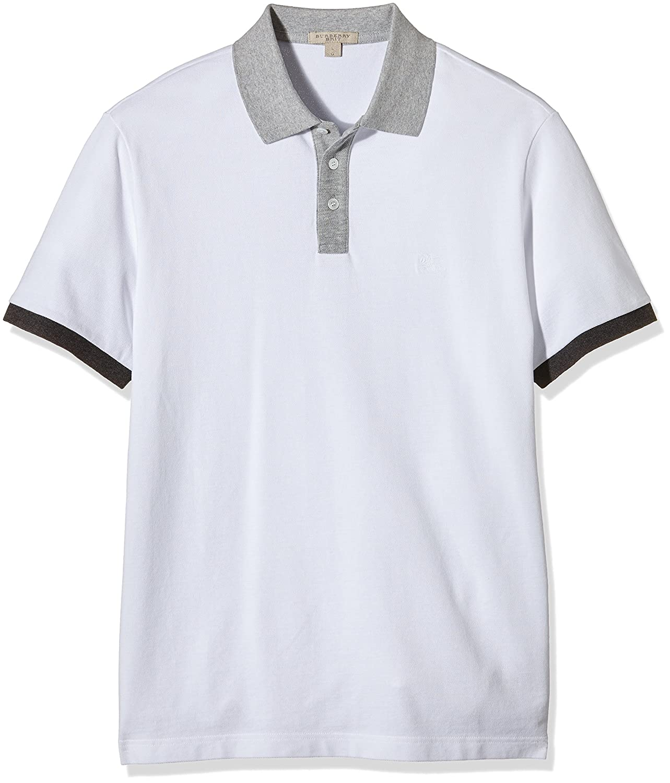 Burberry - Polo para hombre, multicolor (blanco/gris), talla L ...