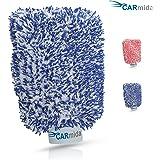 Premium Autowaschhandschuh aus saugfähigster Mikrofaser - Makelloser Auto- und Felgenhandschuh zur Autoreinigung und Autoaufbereitung - Autoschwamm (Blau | Weiß)