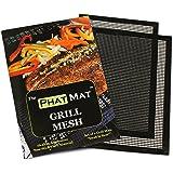 PhatMat BBQ Grill Mat Set of 2 – Premium Heavy Duty Non Stick Grilling & BBQ Mesh-Best Accessories for Traeger, Green Egg, Smoker - Food Doesn't Fall Through Grates -16.5x11.75 -FREE BONUS