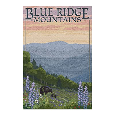 Blue Ridge Mountains - Bear Family and Spring Flowers (Premium 1000 Piece Jigsaw Puzzle for Adults, 20x30, Made in USA!): Toys & Games