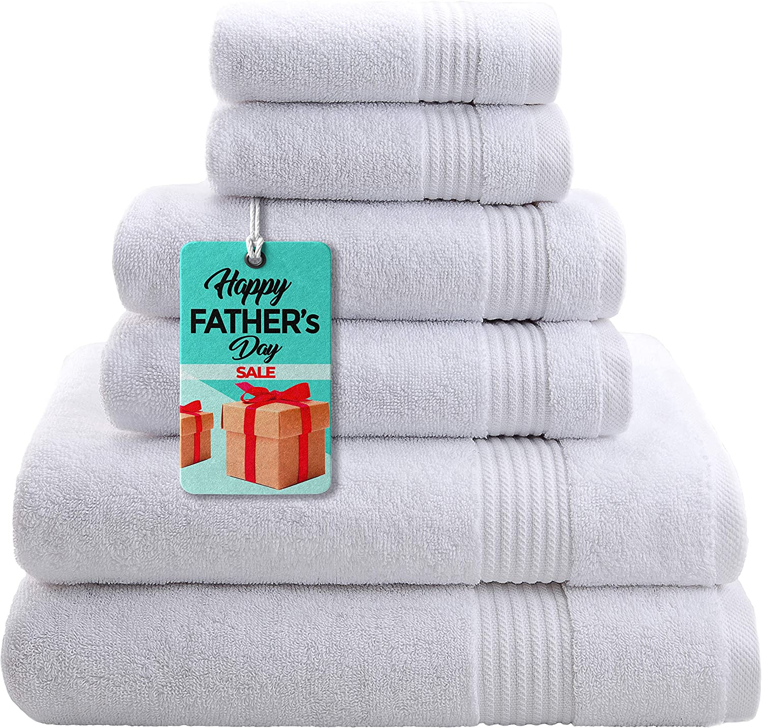 Hotel & Spa Quality, Absorbent and Soft Decorative Kitchen and Bathroom Sets, Cotton, 6 Piece Turkish Towel Set, Includes 2 Bath Towels, 2 Hand Towels, 2 Washcloths, Snow White