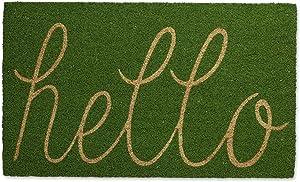 DII Hello Coir Fiber Doormat Non-Slip Durable Outdoor/Indoor, Pet Friendly, 18x30, Green Apple