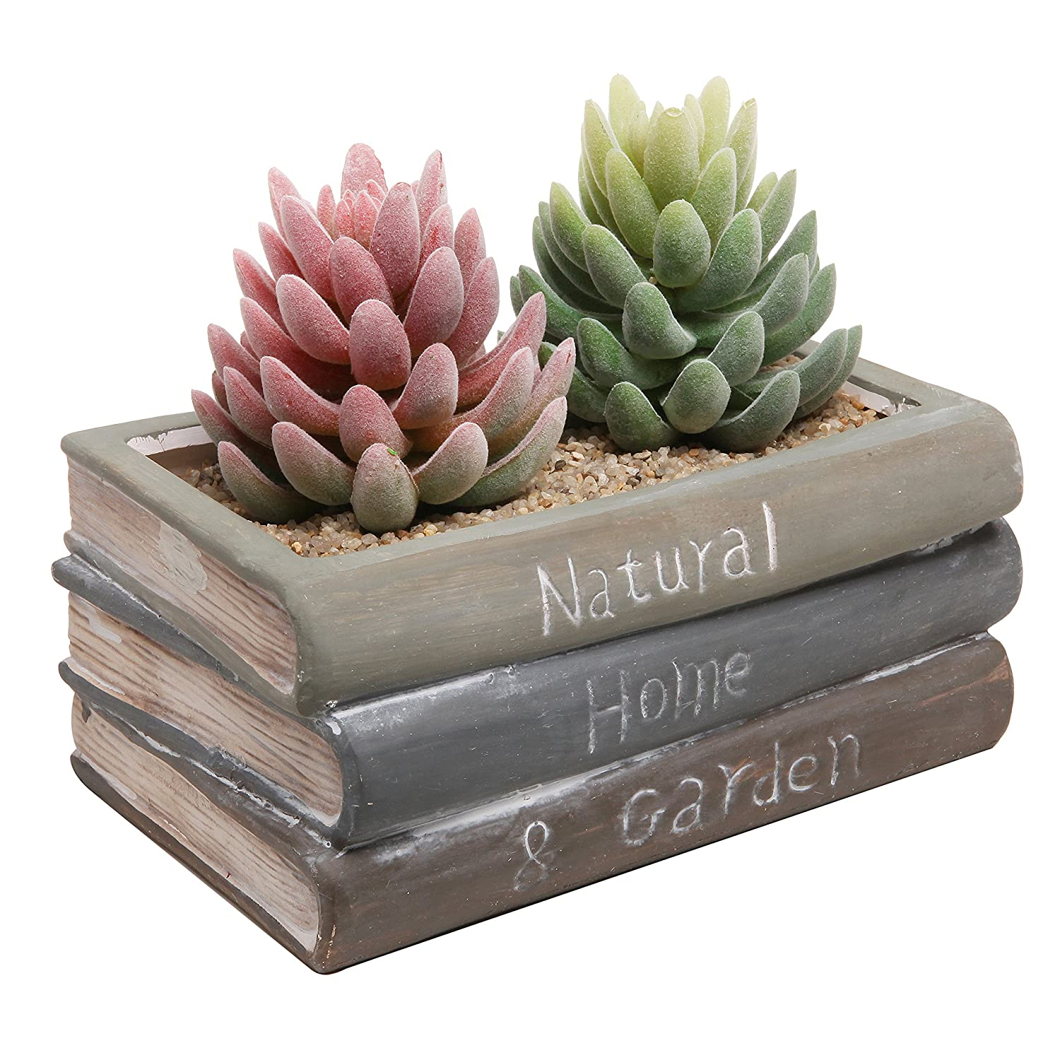 Amazon.com : Vintage Style Ceramic Stacked Book Design Succulent Planter  Flower Pot / Plant Box Container   MyGift : Garden U0026 Outdoor