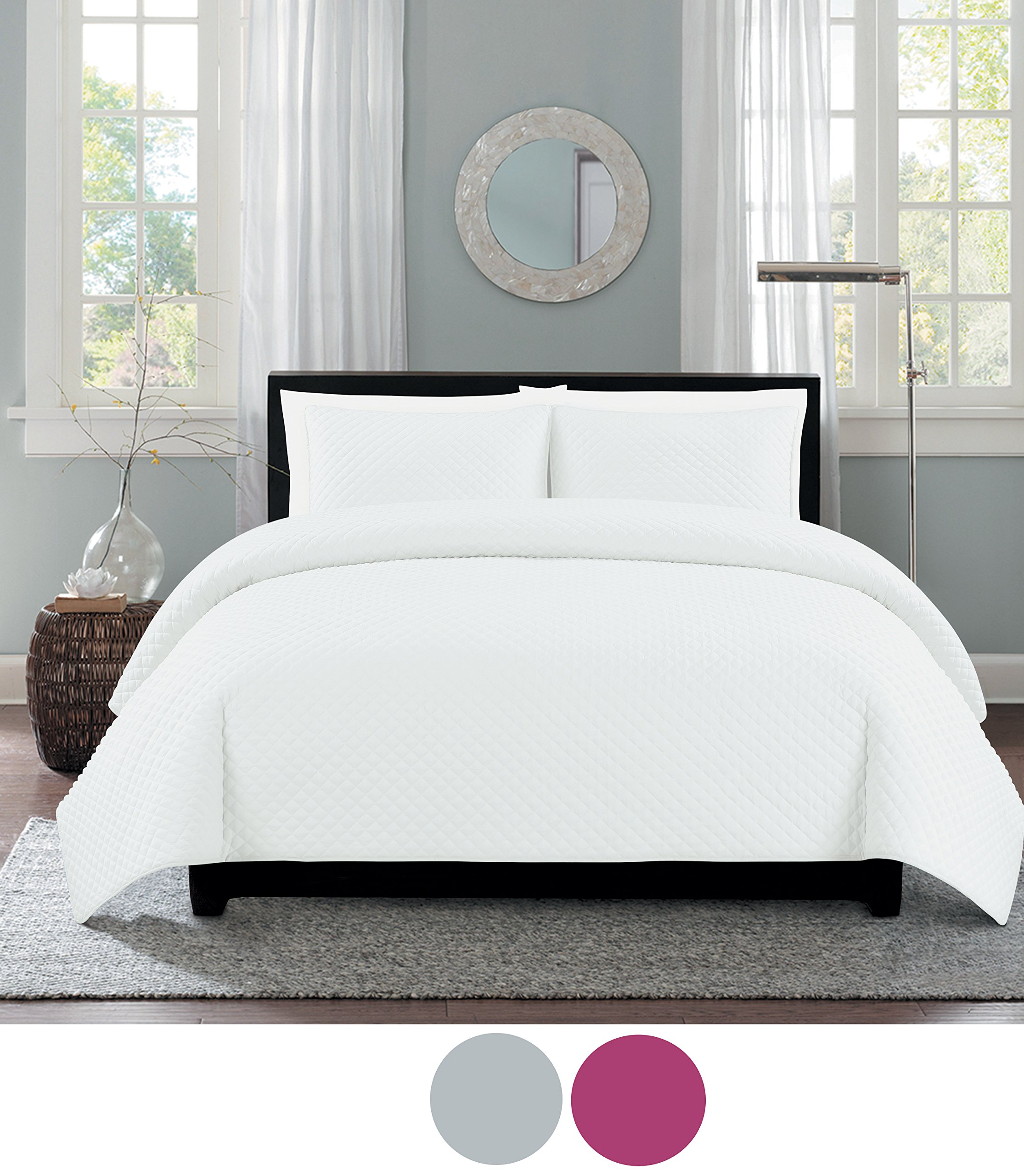 Eastend Home Fashions One Inch Diamond quilt set, Full/Queen, Bright White