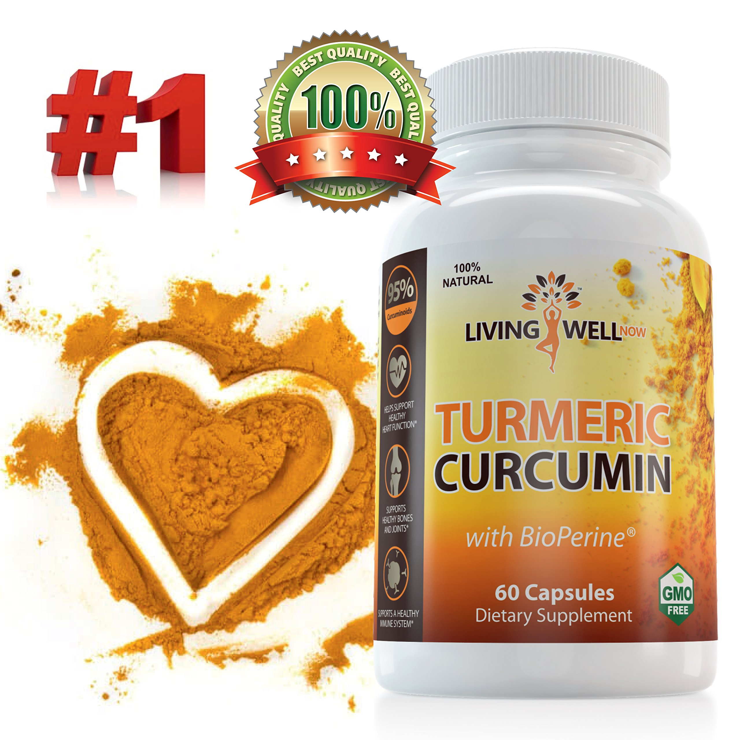 Turmeric Curcumin with BioPerine Supplement. Turmeric Standardized 95 Curcuminoids for Optimal Absorption. Anti Inflammatory Supplement and Natural Anti Aging & Joint Support. Turmeric Capsules