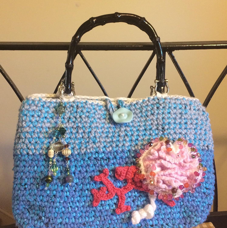 Amazon.com Blue Crochet Handbag   Coral Reef Collection  Plarn ...