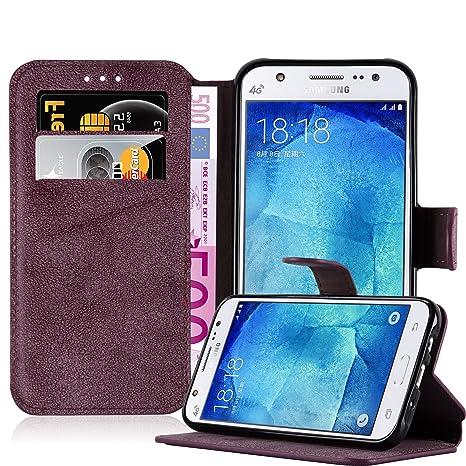 Cadorabo Samsung Galaxy J5 2015 (5) Funda de Cuero Sintético Retro en Rojo Apagado Cubierta Protectora Estilo Libro con Cierre Magnético, Tarjetero y ...