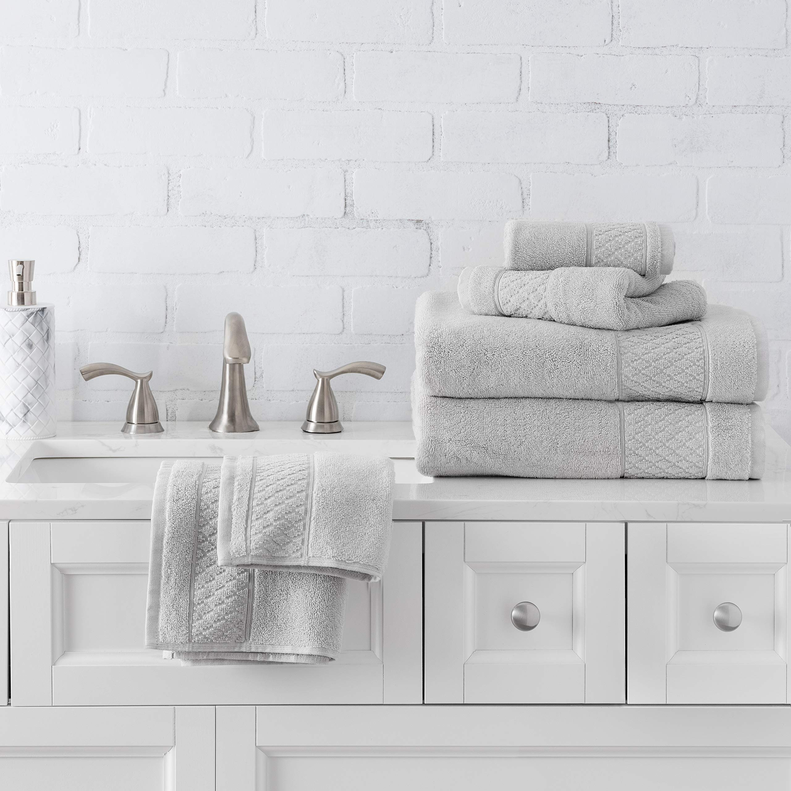 Welhome Hudson 100% Pure Organic Cotton 6 Piece Luxury Towel Set (Glacier Grey) Durable - High Absorbency - Hotel Spa Bathroom Towel Collection - 651 GSM - 2 Bath - 2 Hand - 2 Wash Towels