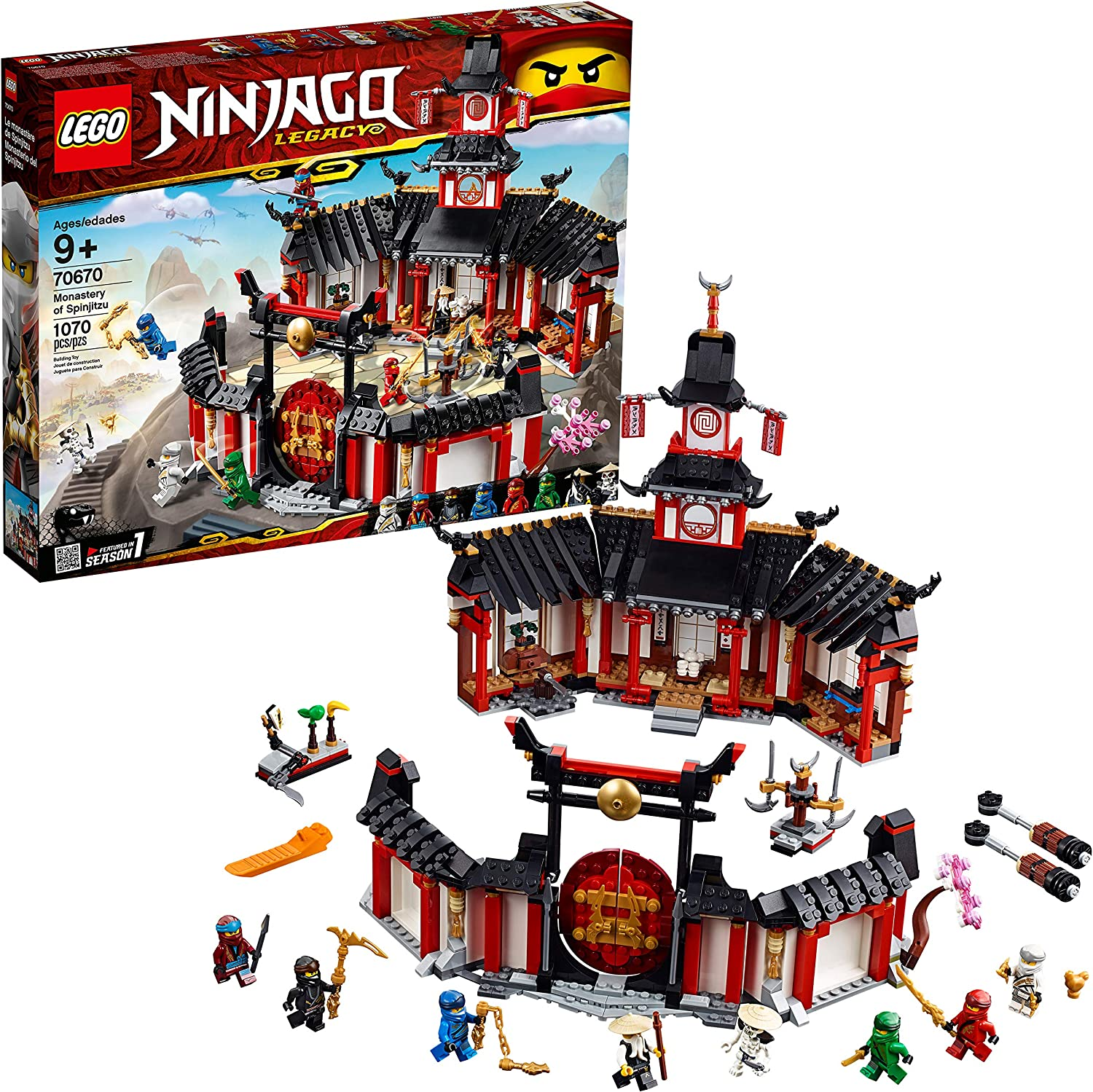 LEGO NINJAGO Legacy Monastery of Spinjitzu 70670 Battle Toy Building Kit includes Ninja Toy Weapons and Training Equipment for Creative Play (1,070 ...