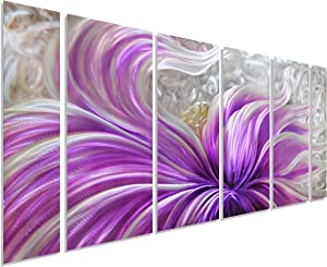 """Pure Art Purple Blossoms Flower Metal Wall Art Painting, Large Floral Contemporary Decor, 3D Wall Art for Modern and Contemporary Decor, 6-Panels Measures 24""""x 65"""", Perfect for Home"""