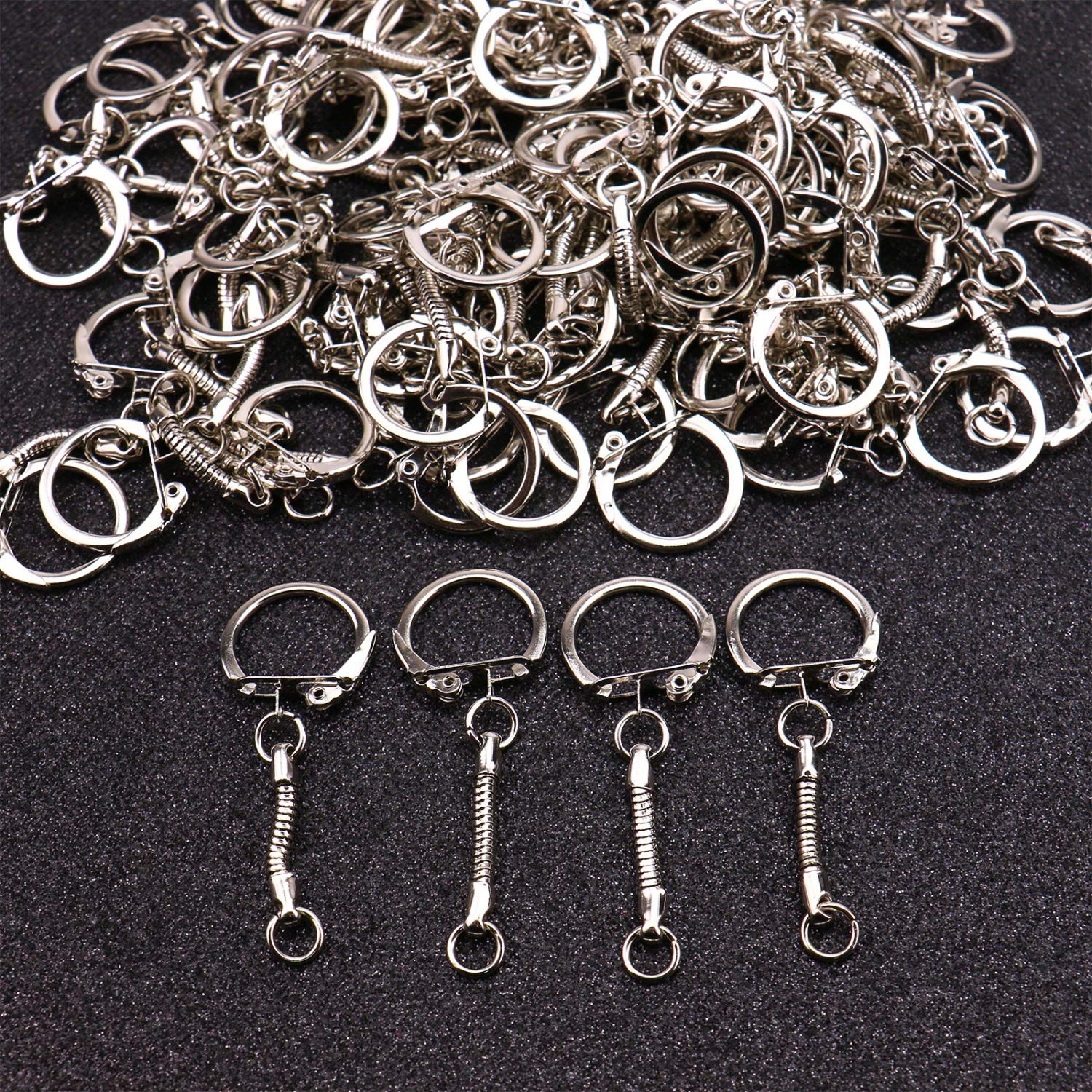JETEHO Set of 100 Metal Key Chain Snake Chain Key Rings with Snap End Jump Ring for Craft Findings,Silver