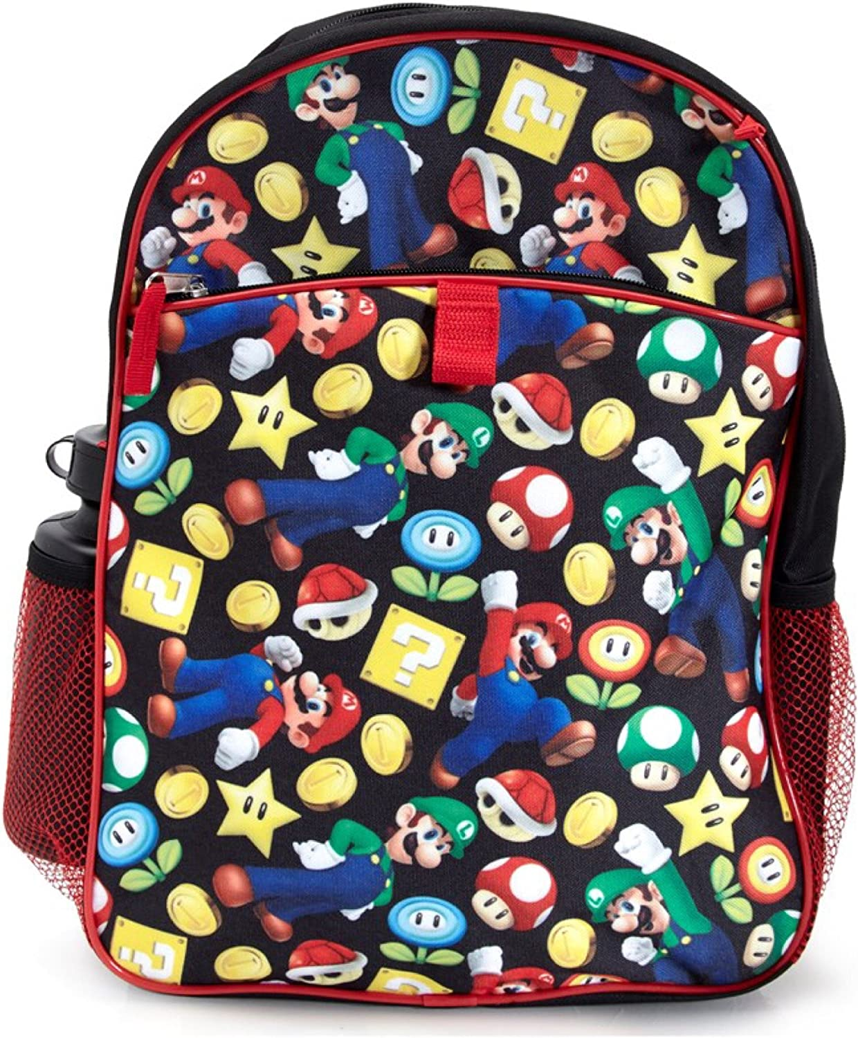 """Super Mario Large 16/"""" School Backpack With  Lunch Box 2 Piece Set"""