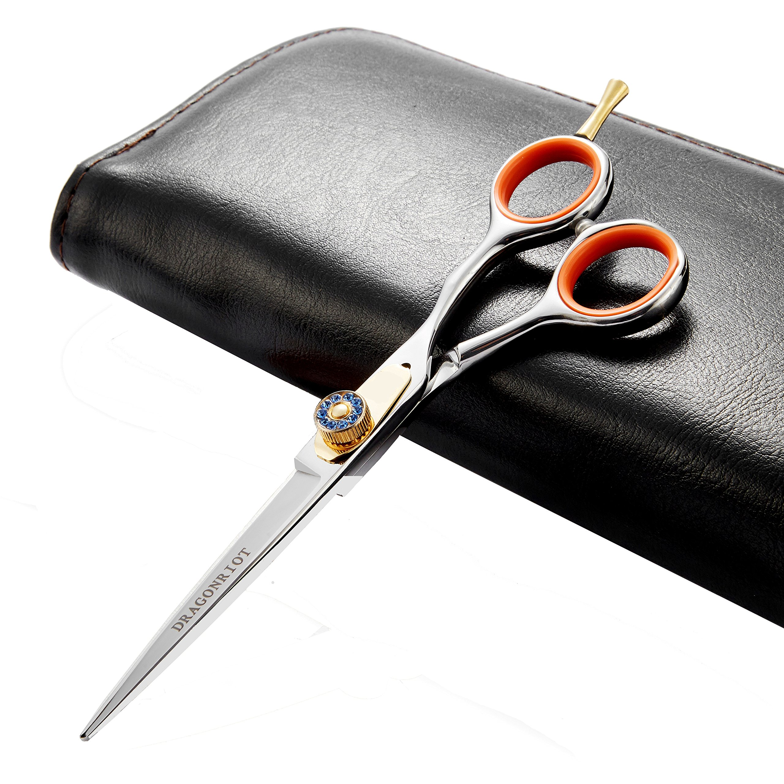 Japanese Professional Hair Cutting Shears,Barber Razor Edge Hair Cutting Scissors Hairdressers Scissor Hair For Women/Men Stainless Steel 6.5 Inch Adjustment Tension Screw,Finger Rest With Case