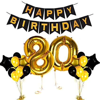 Happy 80th Birthday Gold Centerpieces Decorations Party Ideas Number Supplies With Fabulous Balloon Banner Photo Booth