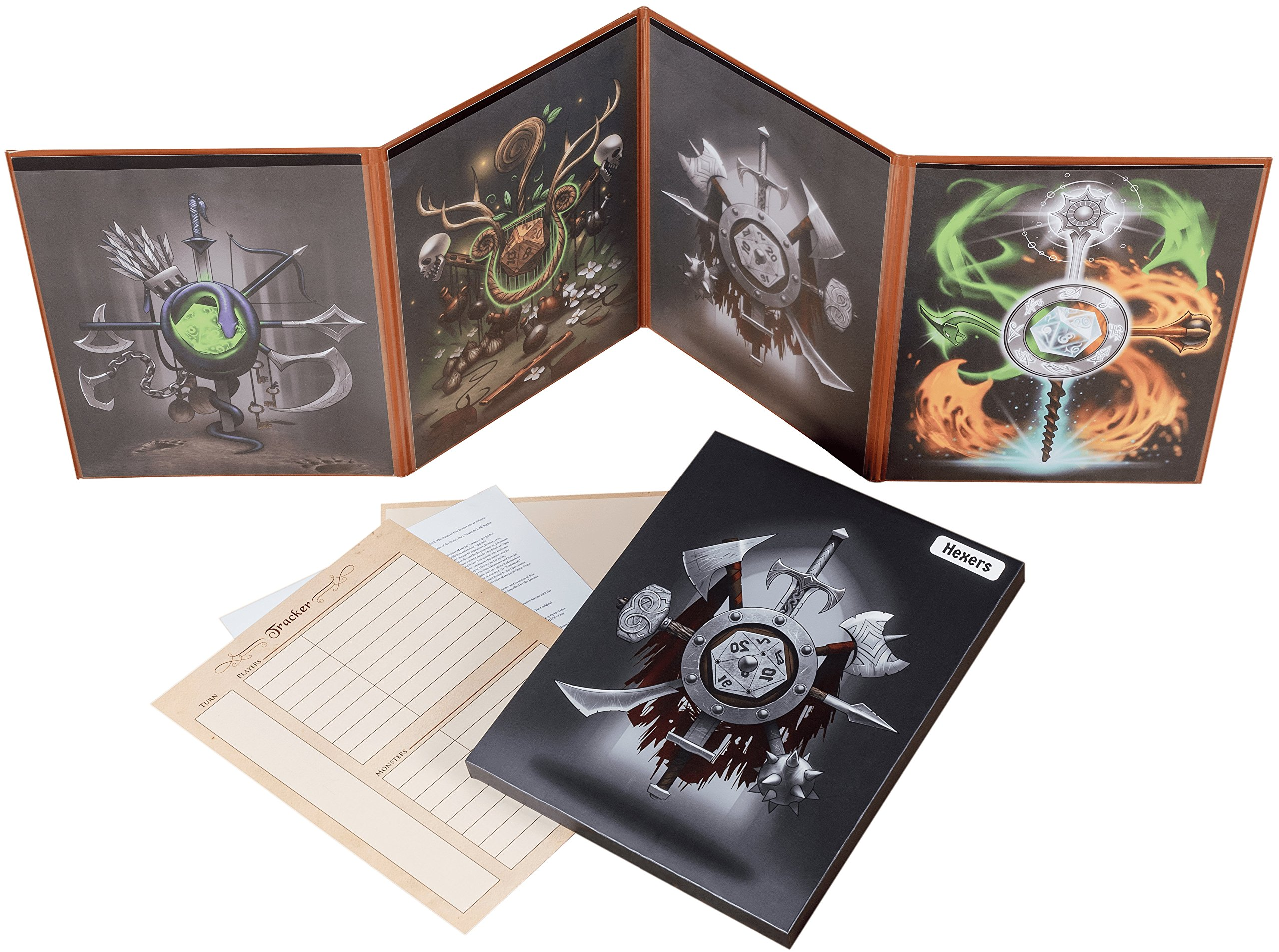 Hexers Game Master Screen, Dungeons and Dragons, DND DM Pathfinder RPG Role-Playing Compatible, 4 Customizable Panels Inserts Included That Slide into The Pouches, Dry Erase Tracker Sheet
