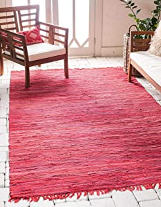 Unique Loom Chindi Cotton Collection Hand Woven Natural Fibers Area Rug_CCH002, 5 x 8 Feet, Red/Purple