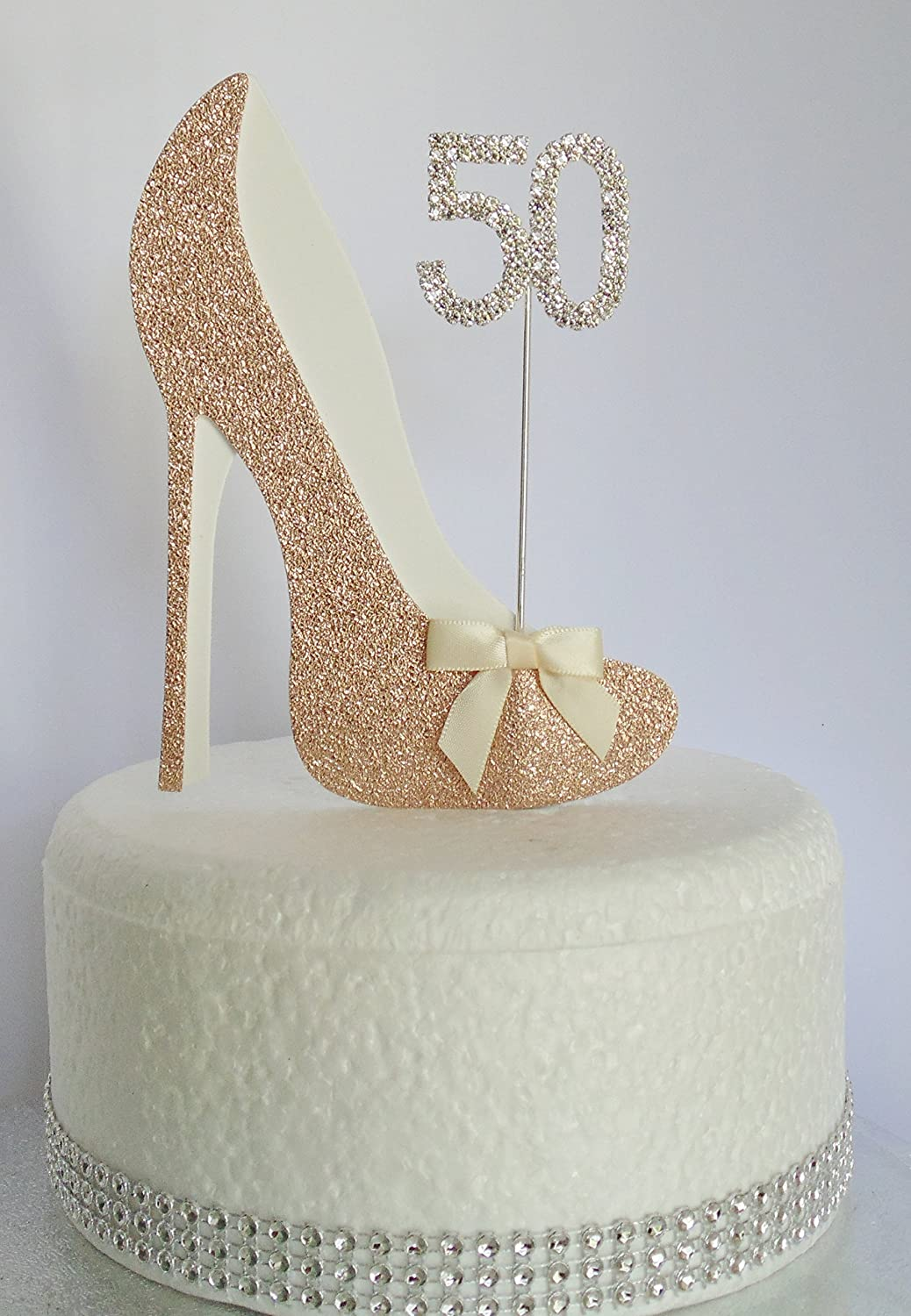 Groovy Age 50 Birthday Cake Decoration 50Th Rose Gold Shoe With White Personalised Birthday Cards Paralily Jamesorg