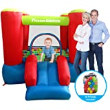 PicassoTiles KC106 8x7 Foot Junior Inflatable Bouncer, Jumping Bouncing House, Jump Slide Playhouse w/50 Pit Balls, 3 Sides Mesh Protection, and Heavy-Duty GFCI ETL Certified 385W Blower