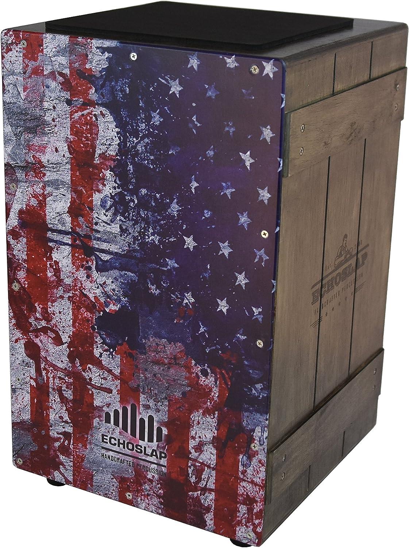 Plus Gig Bag Hand Crafted Echoslap Vintage Crate Cajon -Vintage American Flag Siam Oak Body