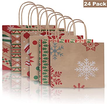BELLE VOUS Bolsas Papel Navidad (Pack de 24) Bolsa de Papel Kraft Envolver Regalos 22cm x 9cm x 18,5cm Bolsas Papel con Asas Fiesta Navidad, Regalos: Amazon.es: Juguetes y juegos
