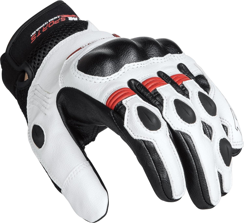 Herren FLM Motorradhandschuhe kurz Motorrad Handschuh Sports Lederhandschuh 5.0 Sommer Sportler