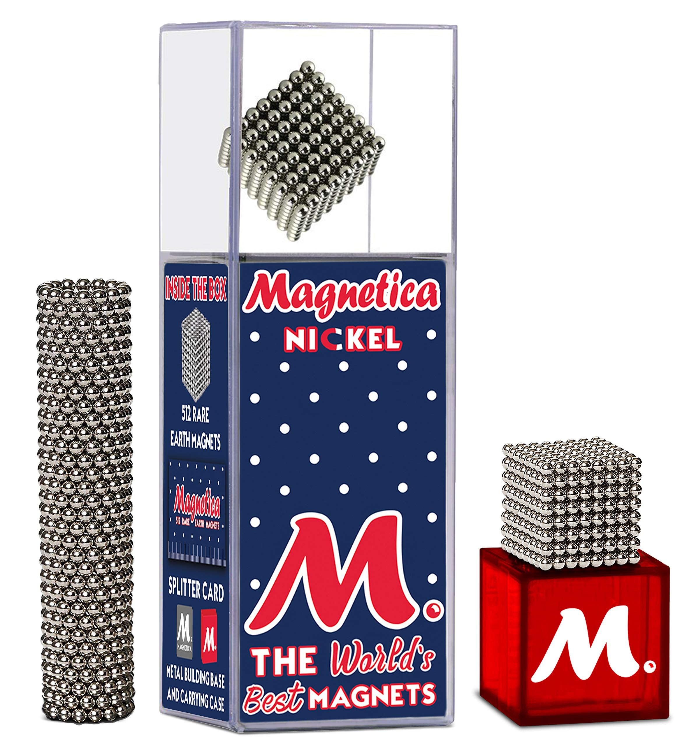Magnetica Original Buildable Magnets (2.5mm) 512 Set for Sculpture Stress Relief Intelligence Development and Desk Toy for Adults | The World's Best Magnets! by Magnetica