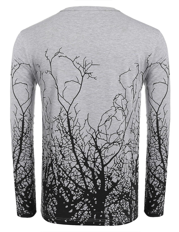 dc964881bc10 Amazon.com: COOFANDY Men's Long Sleeve Shirt Tree Shadow Printed Graphic  Short Sleeve T-Shirt: Clothing