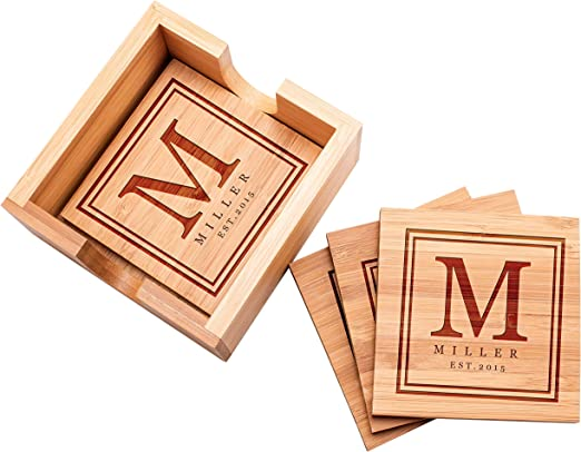 Drink Coasters Square Wood Coasters Set of 7 Personalized With Holder
