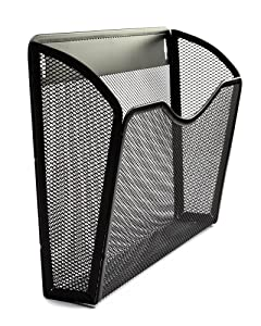 Organizer Wall File Holder 3 Pack | Professional Quality Anti-Rust Metal Mesh | Hanging Wall Mounted Single Pocket Black | Essential For Home and Office Products and Supplies - By Lantern Lane