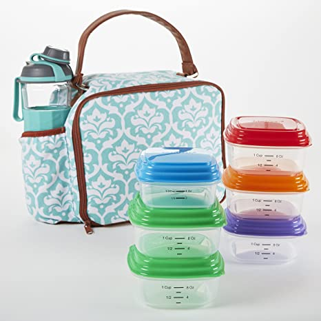 08c965941b7 Fit /& Fresh Lovelock Insulated Lunch Bag Kit for Women with Reusable  Container Set and Shaker Bottle, Aqua Shadow Circle Christmas Holiday