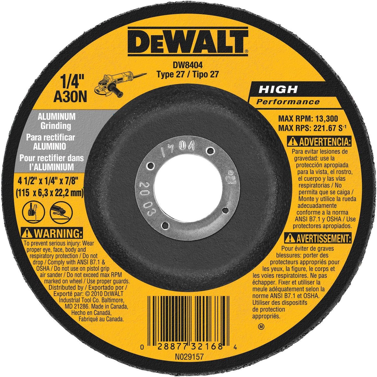 B00004YMFY DEWALT DW8404 4-1/2-Inch by 1/4-Inch by 7/8-Inch Aluminum Grinding Wheel (25-Pack) 91gLZmbZBQL.SL1500_
