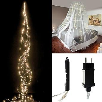 LED Lichterkette mit 100 LED Lichterbündel Draht warmweiß biegsam ...