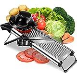 Adjustable Stainless Steel Mandoline Slicer - Professional Handheld Kitchen Mandolin Julienne Cutter for Slicing Food Vegetab