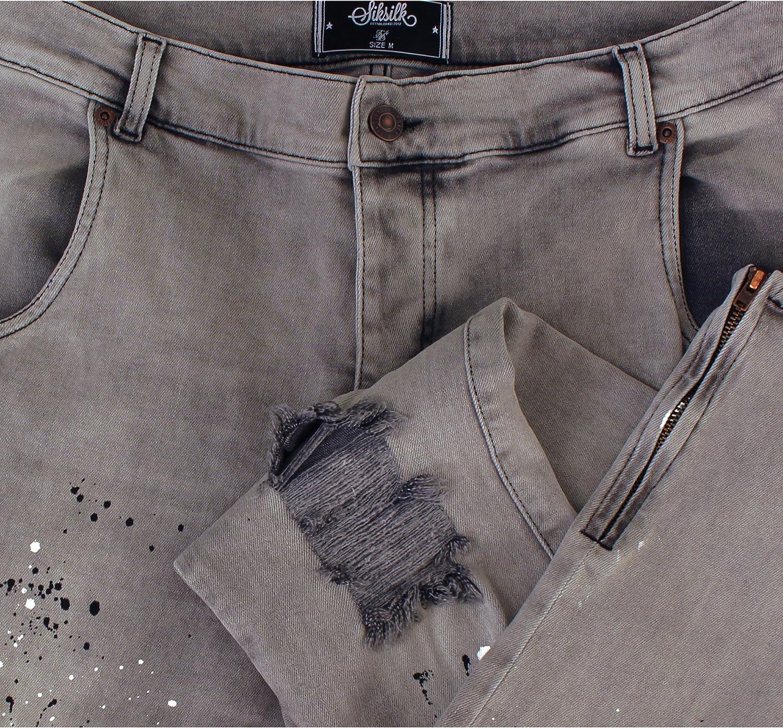 SikSilk Men's Low Rise Skinny Jeans Grey