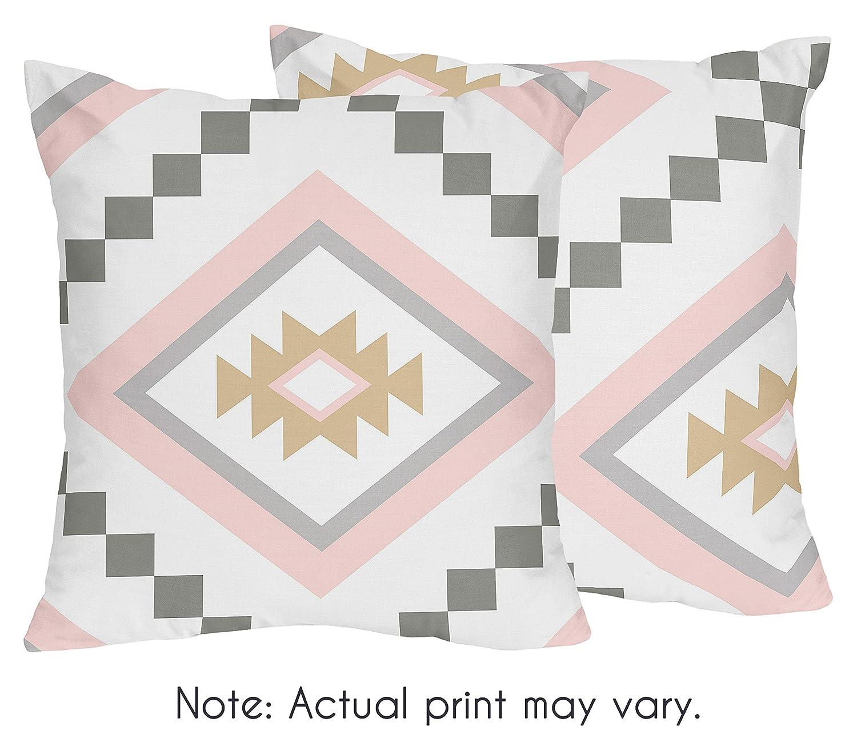 ブラッシュピンクとグレーBoho装飾アクセントのためのスロー枕Aztecコレクションby Sweet Jojo Designs – 2のセット B0775R9LN5