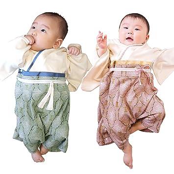 3f75c25fdd33f Sweet Mommy 袴ロンパース 日本製ちりめん×オーガニックコットン 裾タイプ2WAY ロンパース ワンピース ベビー