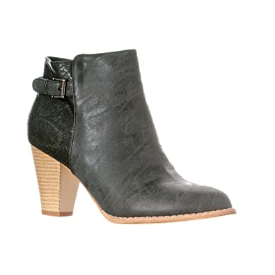 9ee1d882cb80 Riverberry Women's Becca Chunky Heel Faux Snake/Leather Ankle Bootie Boots,  Black, ...