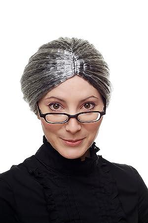 Carnaval, peluca, abuela, gobernante, tía, negro con mechas cinzas, aspecto